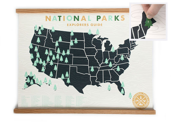 100 best handmade holiday gifts on etsy emmaline bride and this national parks sticker map by ellothere unique handmade holiday gifts on etsy sciox Gallery
