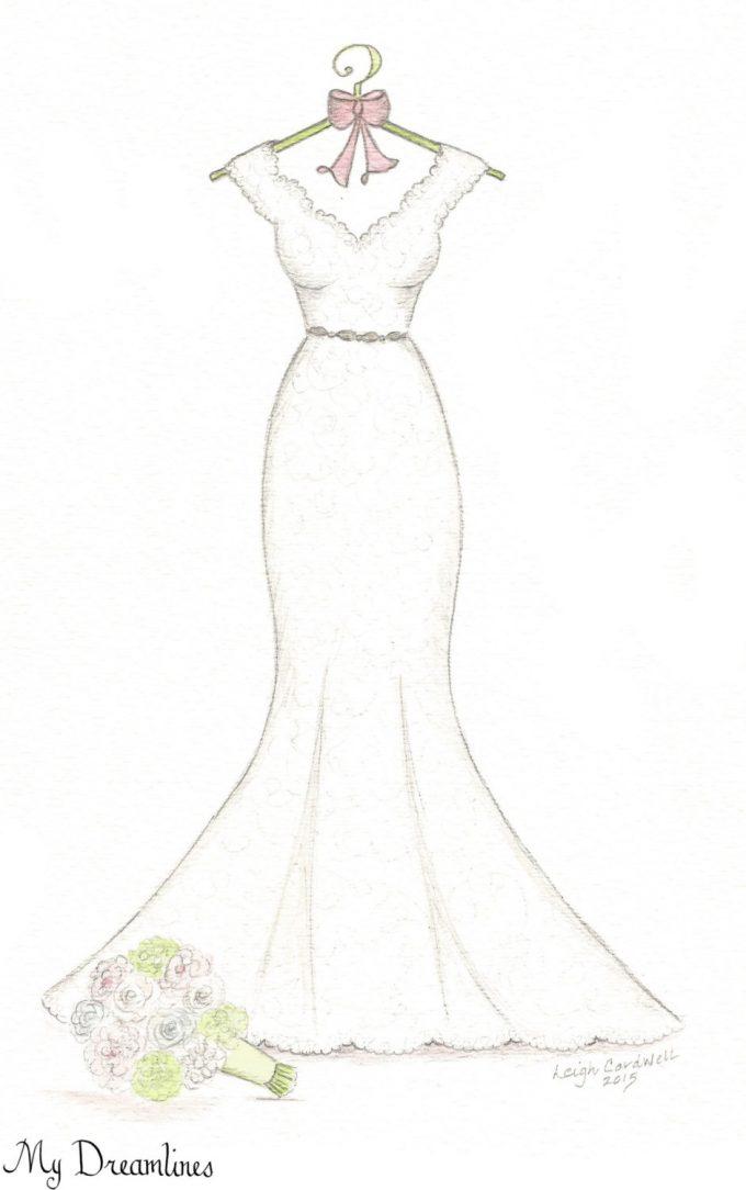 wedding dress sketch by dreamlines | via http://emmalinebride.com/bride/dress-sketch-wedding/