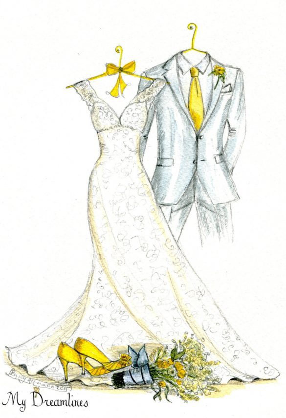 custom wedding dress sketch // via http://etsy.me/2yhEDA7