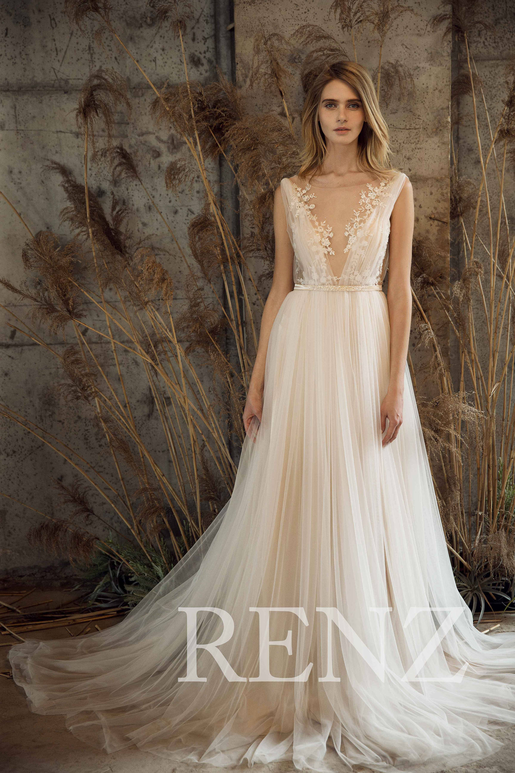 12 beautiful wedding dresses under 500 on etsy emmaline bride this dress is ethereal i adore the illusion tulle deep v neck and soft layered skirt for a romantic look by renz price 399 junglespirit Gallery