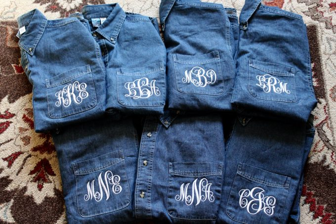 custom wedding denim jacket - button down shirts for getting ready