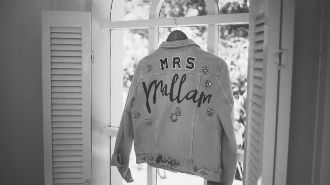 custom wedding denim jacket in pink