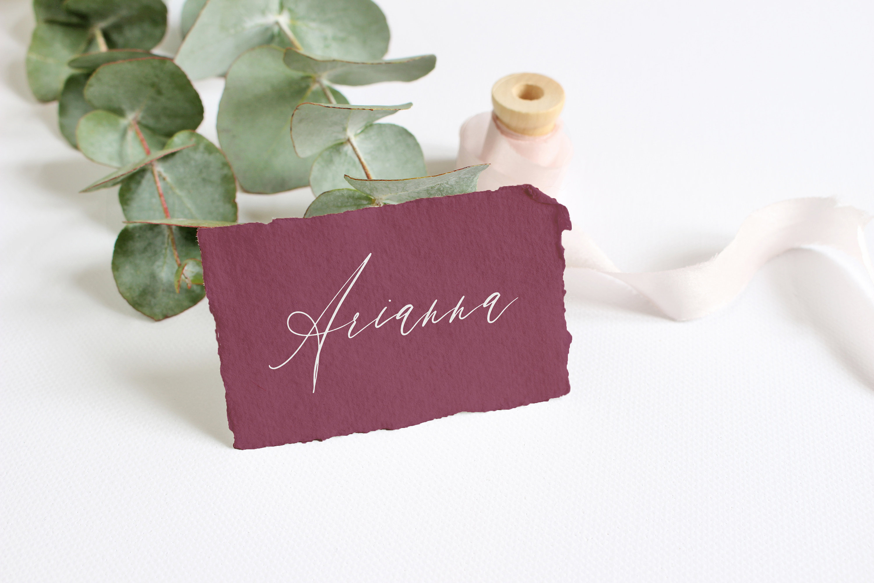 table place cards with torn edge