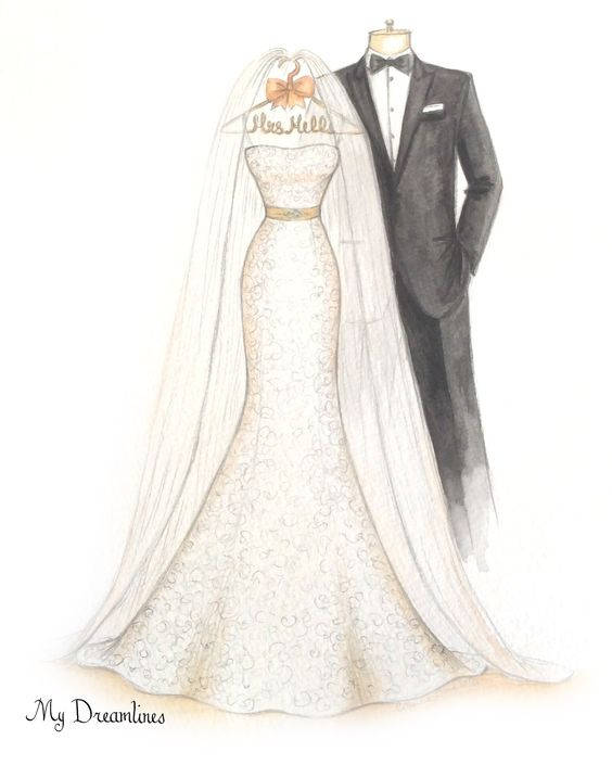 c22612e1cd1 Wedding Dress Sketch Gift for Weddings - Unique Gifts for the Bride