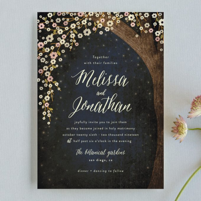 Rustic Starry Night Invitations For Outdoor Weddings