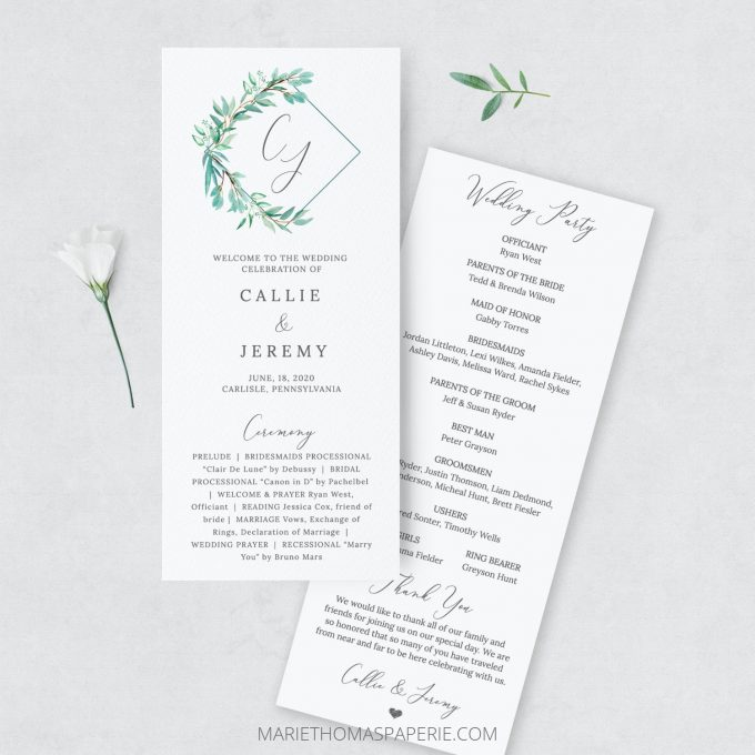 how to make your own wedding programs | printable ceremony programs
