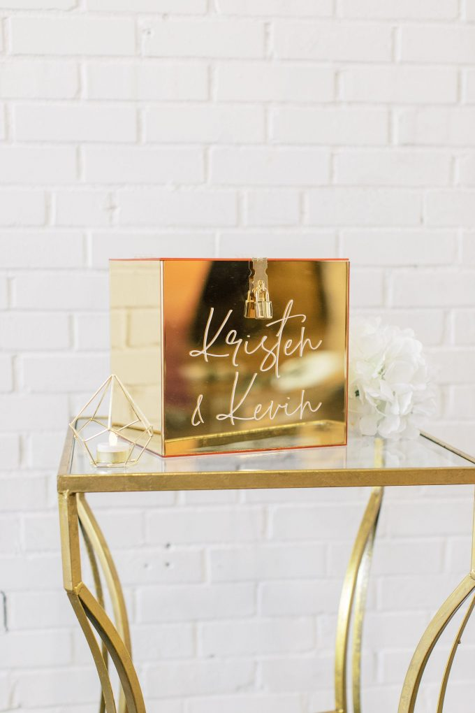 gold mirror card box with lock and key