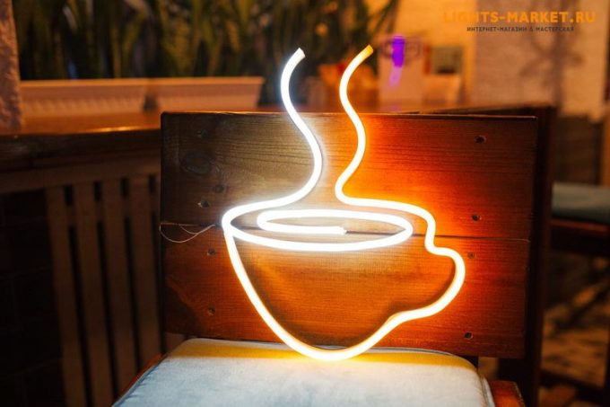 coffee cup light up neon sign