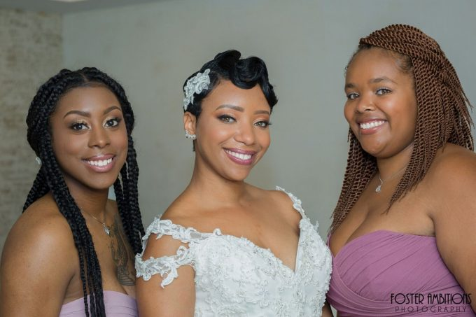 bride and bridesmaids portrait - le club avenue wedding