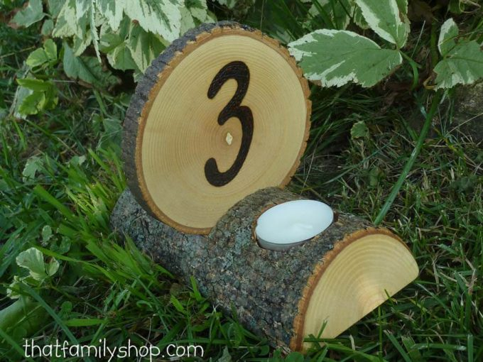 wood slice table number with candle holder