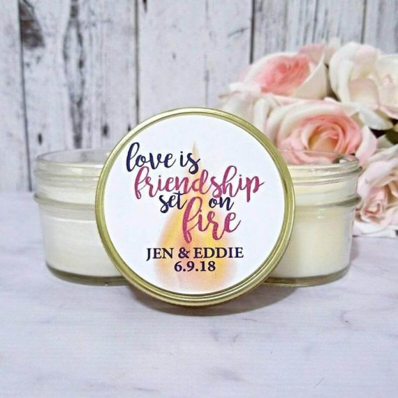 love is friendship set on fire candle favors