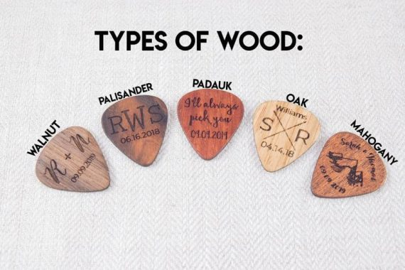 personalized wooden guitar pick
