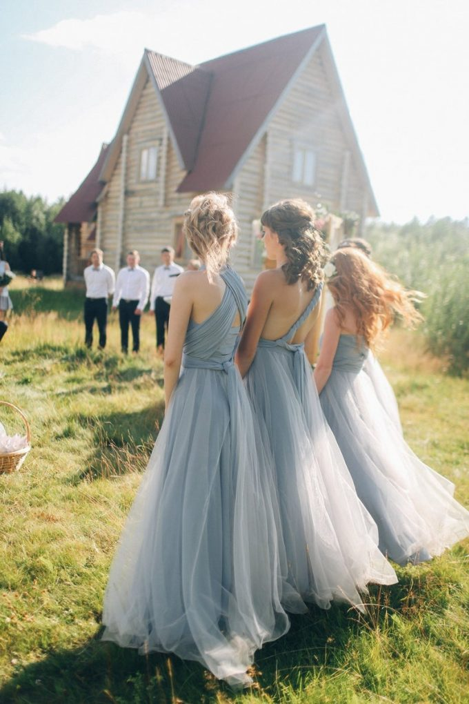 bridesmaid dress with tulle skirt