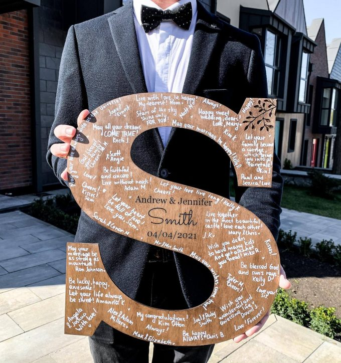 wedding guest book initial letter