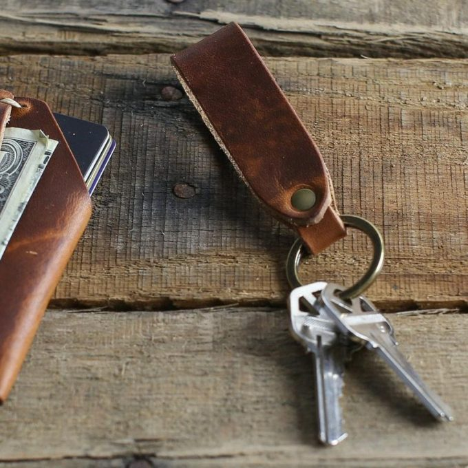 personalized leather keychain with initials