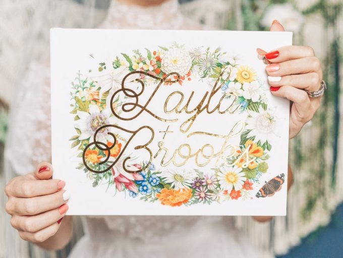 floral wedding guest book