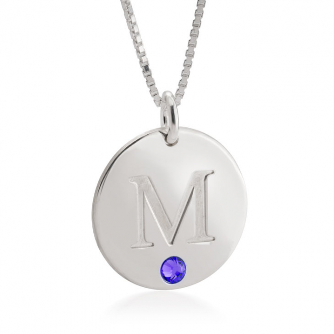 disc necklace with birthstones