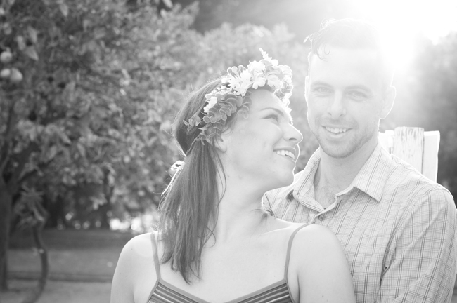 black and white photo of couple at their California engagement session