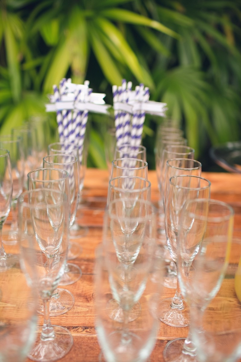Champagne flutes and striped straws | Rustic Glam Bridal Shower | styled: adore amor event planning, photo: little blue bird photography | http://emmalinebride.com/shower/rustic-glam-bridal-shower/