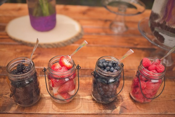 Mason Jars filled with Fruit for Mimosa Bar | Rustic Glam Bridal Shower | styled: adore amor event planning, photo: little blue bird photography | http://emmalinebride.com/shower/rustic-glam-bridal-shower/