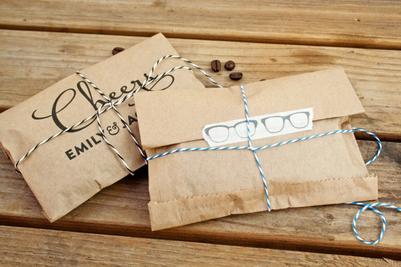 Cheers Coffee Favor Bags with Eyeglass StickersCheers Whole Bean Coffee Favor Bags | How to Make Coffee Favors