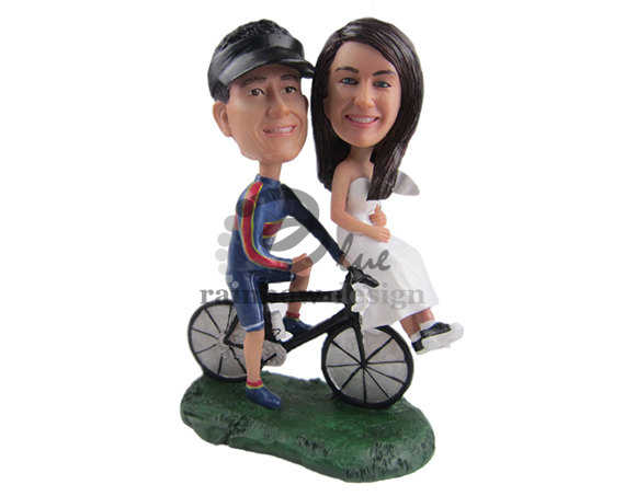 Custom Wedding Bobbleheads -bride groom on bike