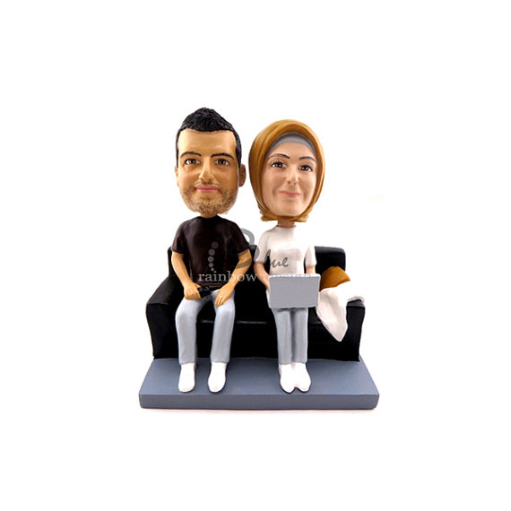 Custom Wedding Bobbleheads - couple on couch laptop custom wedding bobbleheads
