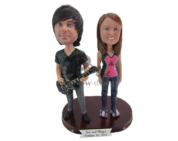 Custom Wedding Bobbleheads - rocker couple bobbleheads