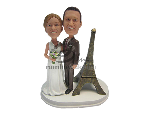Custom Wedding Bobbleheads with Eiffel Towel Parisian Wedding