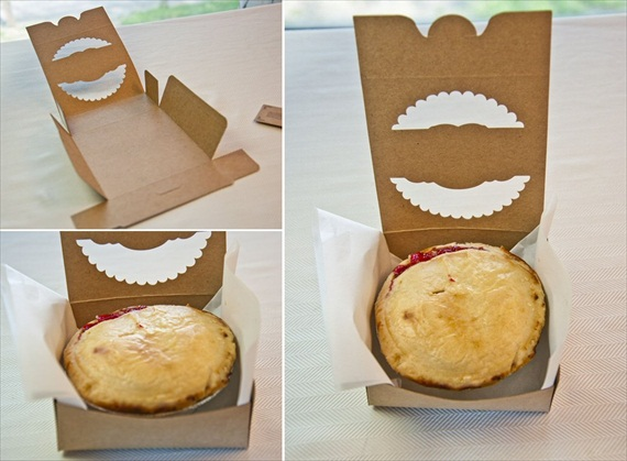 DIY Wedding Favors: DIY Cherry Pies in a Box Wedding Favor via EmmalineBride.com