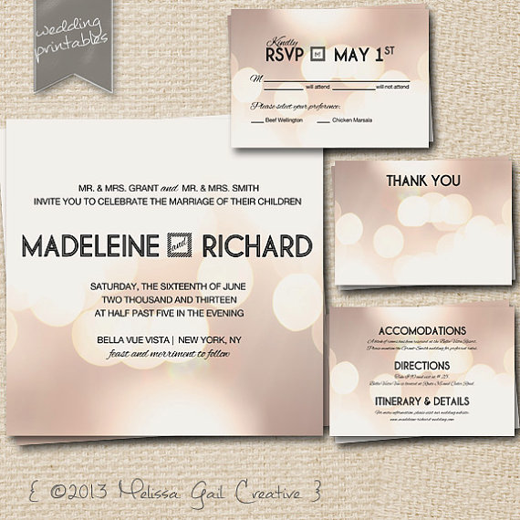 DIY Printable Wedding Invitations (by Melissa Gail Creative) - bokeh effect