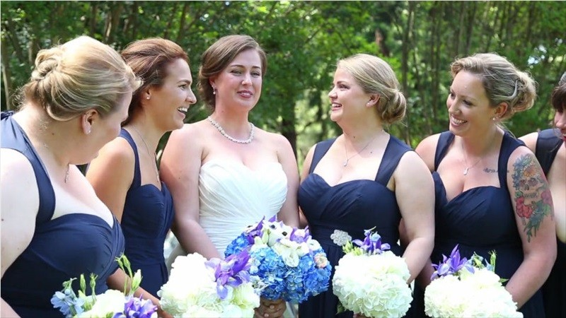 bride with bridesmaids in Villa Chanticleer Wedding Film | Videographer: Baby Blue Film | via http://emmalinebride.com/real-weddings/villa-chanticleer-wedding-film-corey-anthony/