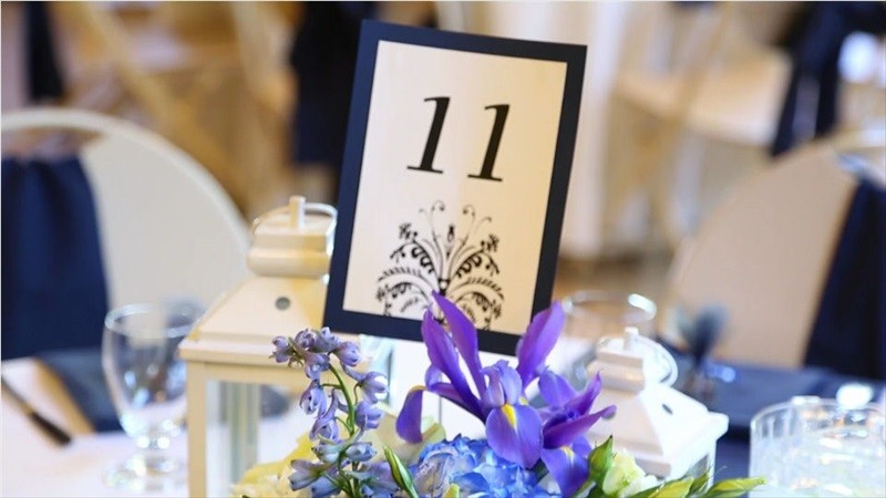 reception table number in Villa Chanticleer Wedding Film | Videographer: Baby Blue Film | via http://emmalinebride.com/real-weddings/villa-chanticleer-wedding-film-corey-anthony/