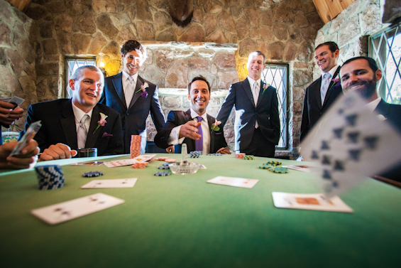 Johnstone Studios - lake tahoe wedding - grooms and groomsmen play poker