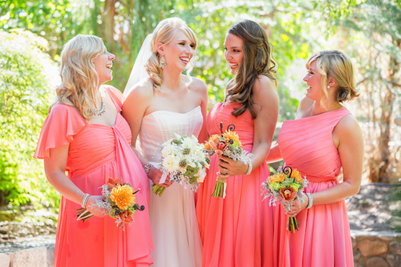 Johnstone Studios - fairytale nevada wedding, bride in white with bride's maids in pink dresses