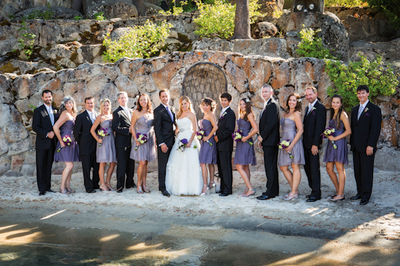 Johnstone Studios - lake tahoe wedding - bridal party with bride and groom on the lake's beach