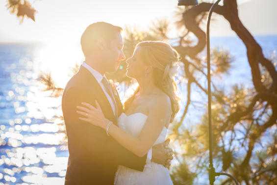 Johnstone Studios - thunderbird lodge wedding - bride and groom kissing at sunset