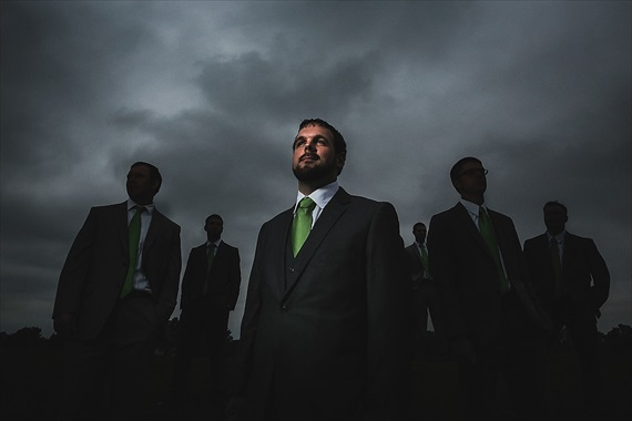 Matthew Steed Wilson Photography - groom with groomsmen under dark sky - scrabble themed wedding