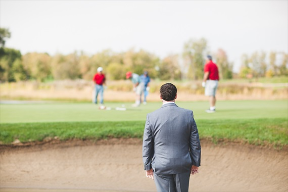 Matthew Steed Wilson Photography - groom waiting on the Coyote Creek Golf Course - scrabble themed wedding