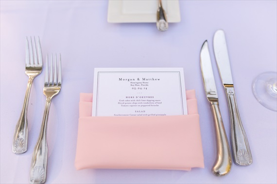 Filda Konec Photography - Hemingway House Wedding - wedding menu card and place setting