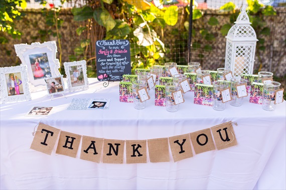 Filda Konec Photography - Hemingway House Wedding - wedding table with Key West Tervis Tumblers for guests