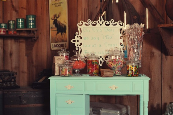 Drozian Photoworks - vintage candy bar at rustic wedding