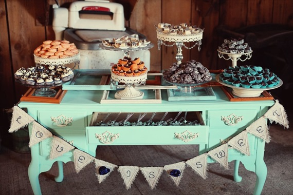 Drozian Photoworks - vintage, rustic dessert table at barn wedding