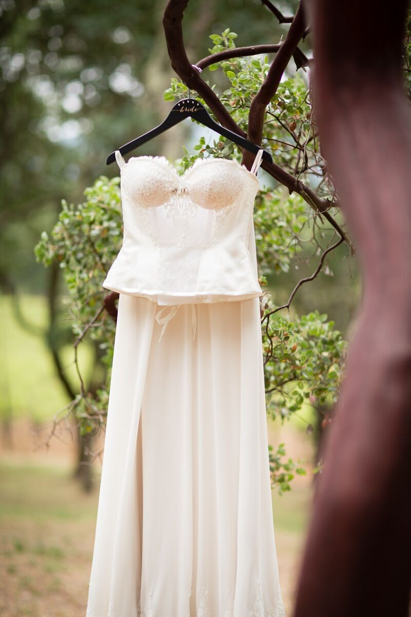 Winery Style Wedding Shoot - The Bride's Dress on Custom Hanger (photo: olivia smartt) http://emmalinebride.com/themes/winery-style-wedding/