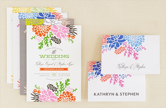 Winsome Blooms Suite - Wedding Stationery Trends 2014 via EmmalineBride.com