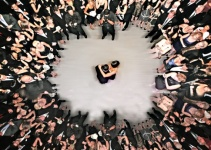 aerial view wedding first dance