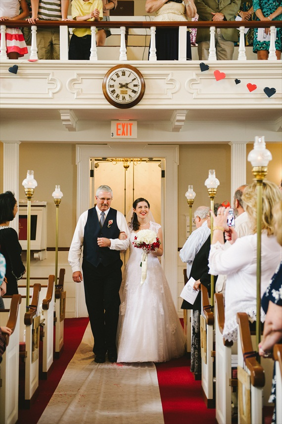 americana-wedding-bride-father-walking-down-aisle (photo: michelle gardella)