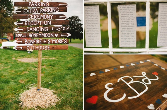 Americana Wedding: Libby + Ernie - rustic reception sign (photo: michelle gardella)