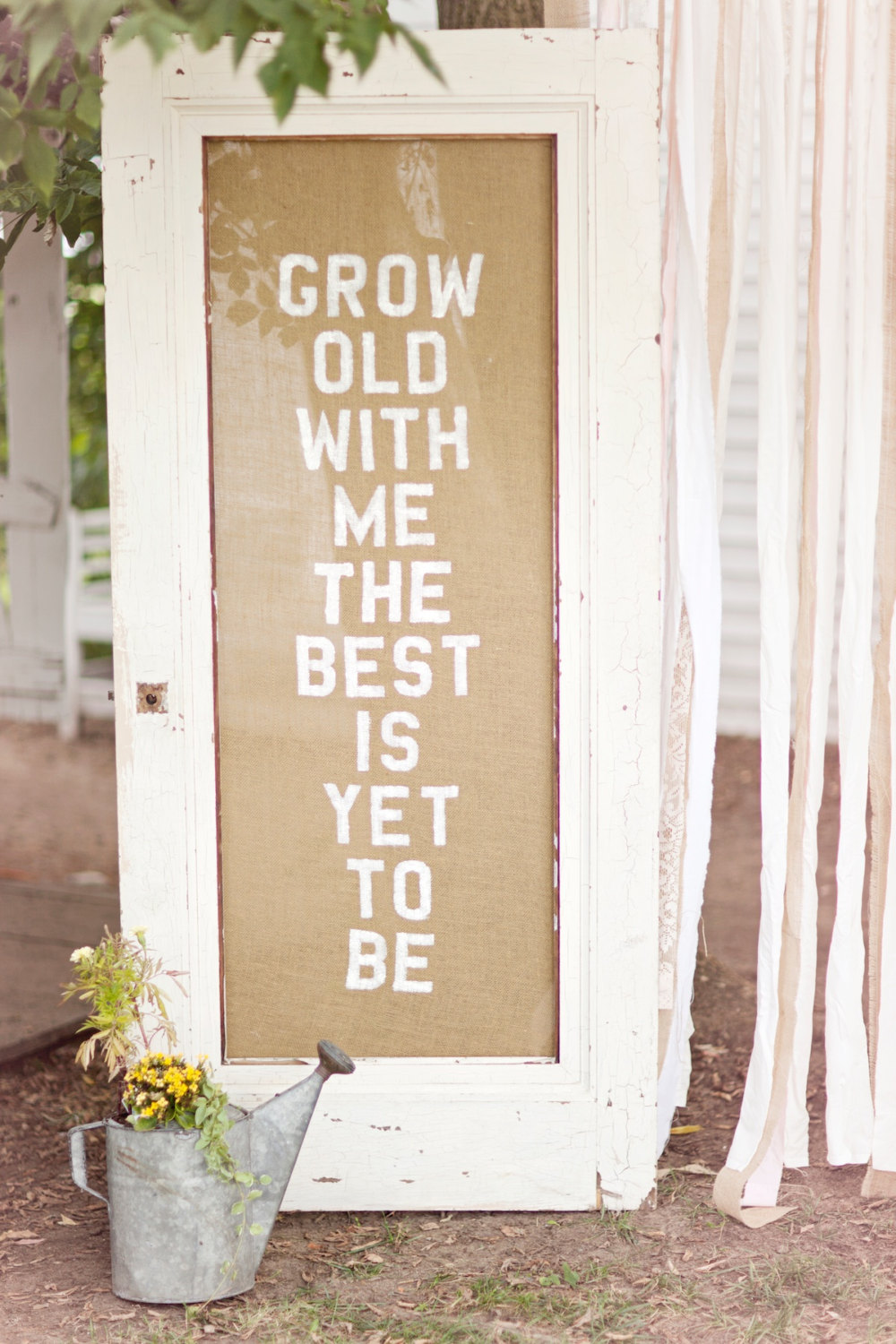 antique ceremony door with burlap grow old with me | 50 Best Burlap Wedding Ideas | via http://emmalinebride.com/decor/burlap-wedding-ideas/