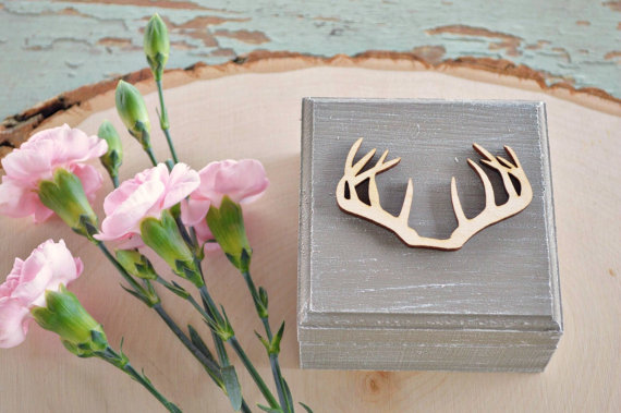 rustic ring box antlers wood painted gray